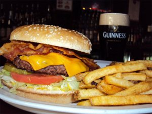Burger, Chips and Guiness